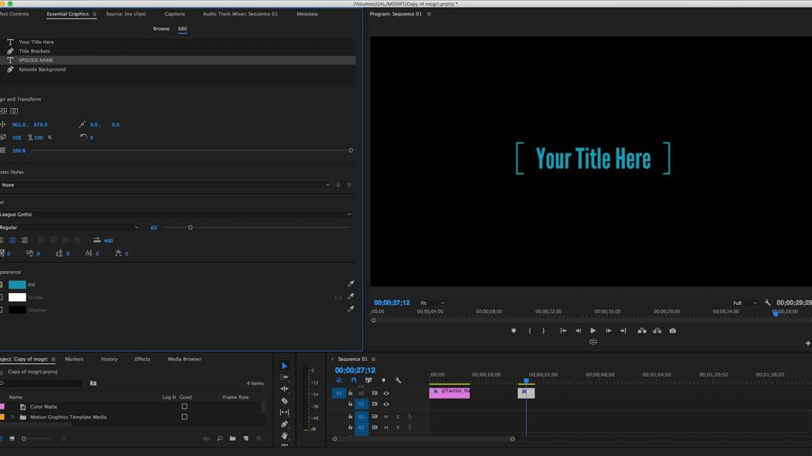 Sử dụng Essential Graphics tạo template trong Premiere Pro CC